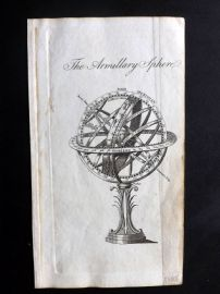 Guthrie 1788 Antique Print. The Armillary Sphere. Astronomy Celestial